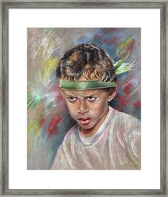 Very Young Maori Warrior From Tahiti Framed Print by Miki De Goodaboom