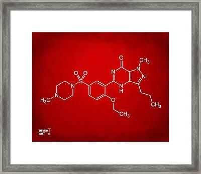 Viagra Molecular Structure Red Framed Print by Nikki Marie Smith
