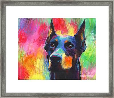 Vibrant Doberman Pincher Dog Painting Framed Print by Svetlana Novikova