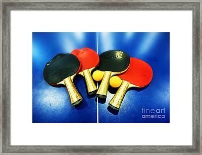 Vibrant Ping-pong Bats Table Tennis Paddles Rackets On Blue Framed Print by Beverly Claire Kaiya