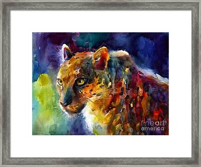 Vibrant Watercolor Leopard Wildlife Painting Framed Print by Svetlana Novikova