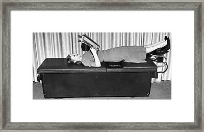 Vibrating Weight Loss Machine Framed Print by Underwood Archives
