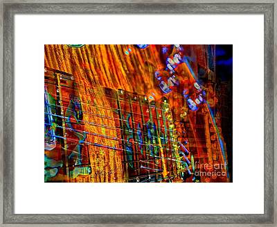 Vibrations Digital Guitar Art Bt Steven Langston Framed Print by Steven Lebron Langston