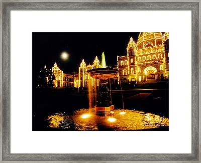 Victorain Fountain At Night Framed Print by John Malone