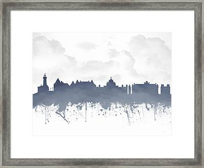 Victoria British Columbia Skyline - Blue 03 Framed Print by Aged Pixel