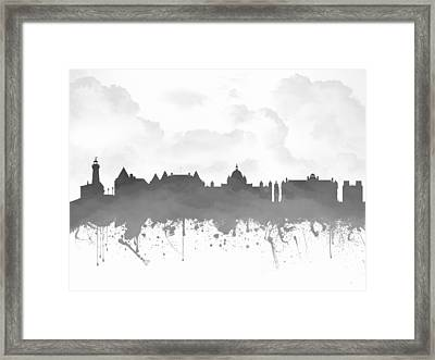 Victoria British Columbia Skyline - Gray 03 Framed Print by Aged Pixel
