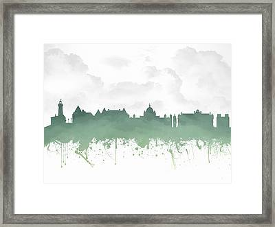 Victoria British Columbia Skyline - Green 03 Framed Print by Aged Pixel
