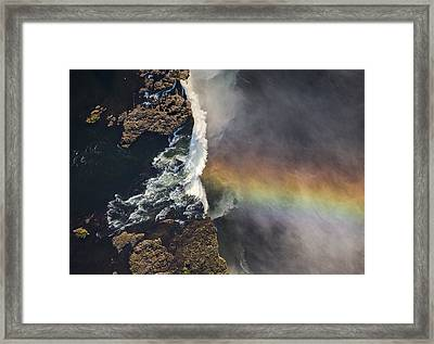 Victoria Falls And Rainbow Zimbabwe Framed Print by Vincent Grafhorst