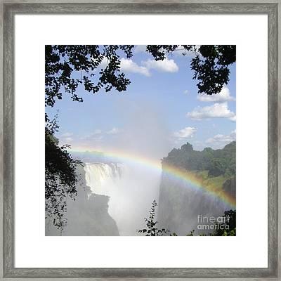 Victoria Falls Rainbow Framed Print by Barbie Corbett-Newmin
