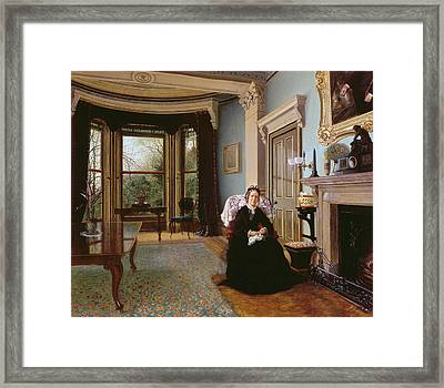 Victorian Interior With Seated Lady Framed Print by Charles Frederick Lowcock