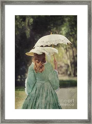 Victorian Woman With Parasol I Framed Print by Susan Gary