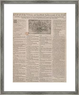 Victories Of Parliament Fleet Framed Print by British Library