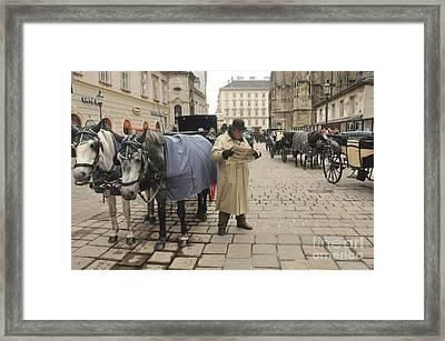 Vienna - Hansom Driver Taking A Break Framed Print by Anthony Morretta