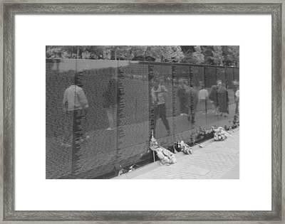 Vietnam Wall Reflections Bw Framed Print by Joann Renner