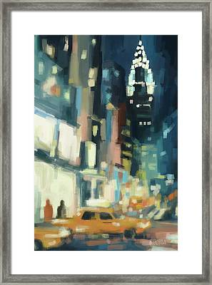 View Across 42nd Street New York City Framed Print by Beverly Brown