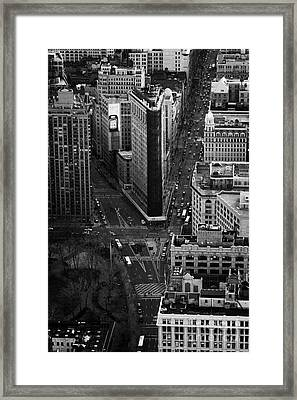 View Down Towards Flatiron Building 5th Ave And Broadway New York City Usa Framed Print by Joe Fox