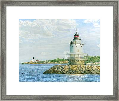 View From Casco Bay Ferry Framed Print by Dominic White