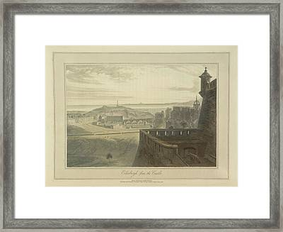 View From Edingbutgh Castle Over The City Framed Print by British Library