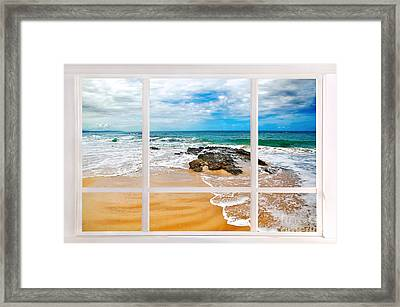 View From My Beach House Window Framed Print by Kaye Menner