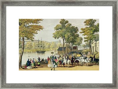View From The North Bank Of The Serpentine Framed Print by Philip Brannan