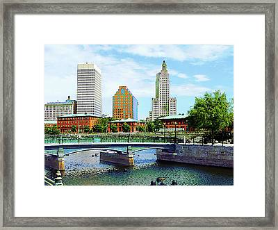 View From Waterplace Park Providence Ri Framed Print by Susan Savad