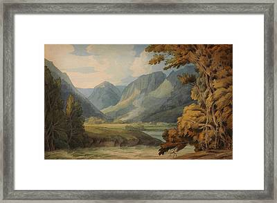 View In Borrowdale Of Eagle Crag And Rosthwaite Framed Print by Celestial Images