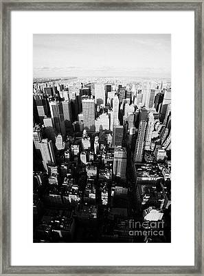 View North And Down Towards Central Park From Empire State Building New York Framed Print by Joe Fox