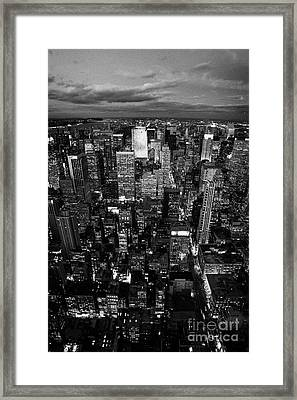 View North At Dusk Towards Central Park New York City Skyline  Framed Print by Joe Fox