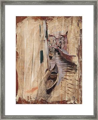 View Of A Venetian Canal Framed Print by Giovanni Boldini