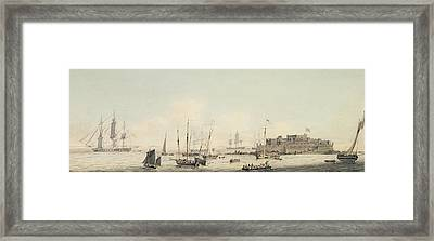View Of Castle Cornet Guernsey With Shipping Framed Print by John Thomas Serres