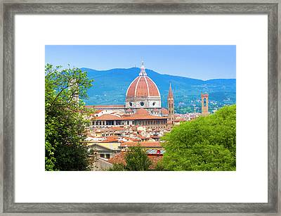 View Of City Center Of Florence Framed Print by Nico Tondini
