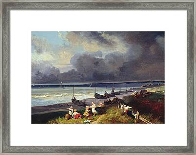 View Of Dieppe Framed Print by Louis Eugene Gabriel Isabey