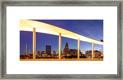View Of Downtown Austin Skyline From The Long Center - Texas Hill Country - Austin Texas Framed Print by Silvio Ligutti
