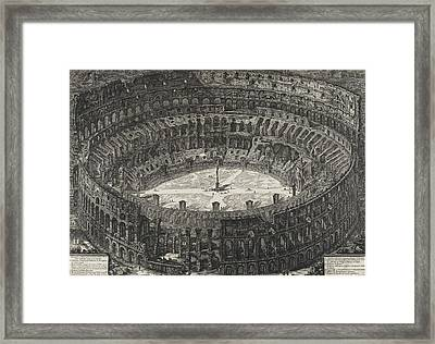 View Of Flavian Amphitheater Called The Colosseum Framed Print by Giovanni Battista Piranesi