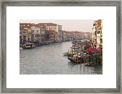 View Of Grand Canal From Rialto Bridge Framed Print by Kav Dadfar