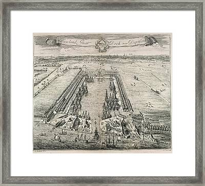View Of Howland Great Dock Framed Print by British Library