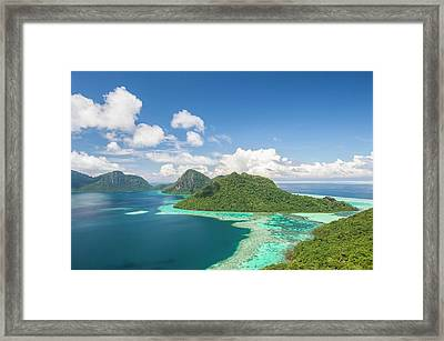 View Of Islands And Reef Framed Print by Scubazoo