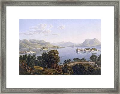 View Of Lake Maggiore And The Borromean Framed Print by Swiss School
