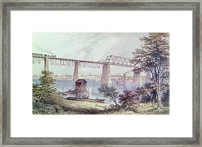 View Of Louisville Coloured Engraving Framed Print by Asa Coolidge Warren