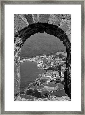 View Of Molyvos Village Through The Castle Framed Print by George Atsametakis