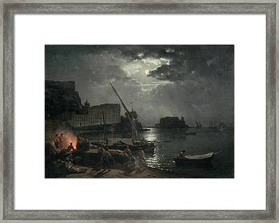 View Of Naples In Moonlight Framed Print by Silvestr Fedosievich Shchedrin