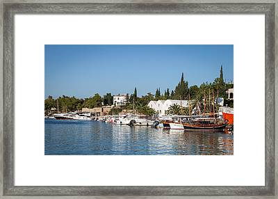 View Of Spetses Harbour Framed Print by Paul Cowan