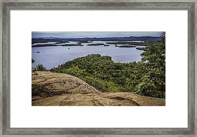 View Of Squam Lake From Rattlesnake Mountain Framed Print by Karen Stephenson