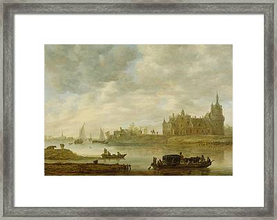 View Of The Castle Of Wijk At Duurstede Framed Print by Jan van Goyen