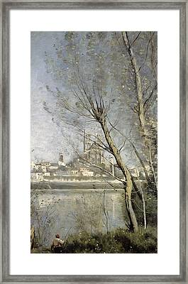 View Of The Cathedral And Town Through The Trees Framed Print by Jean Baptiste Camille Corot