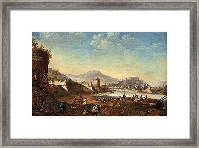 View Of The City Of Salzburg With Fortifications From Mirabell Palace Framed Print by Johann Anton Eismann