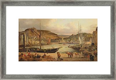 View Of The Commercial Port At Cherbourg Framed Print by Theodore Deslinieres
