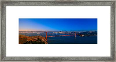 View Of The Golden Gate Bridge And City Framed Print by Panoramic Images