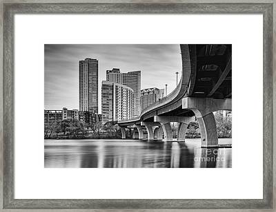 View Of The James D. Pfluger Pedestrian Bridge Over Lady Bird Lake - Austin Texas Hill Country Framed Print by Silvio Ligutti