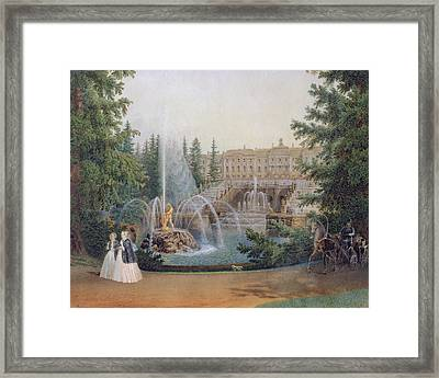View Of The Marly Cascade From The Lower Garden Of The Peterhof Palace Framed Print by Vasili Semenovich Sadovnikov